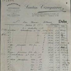 Facturas antiguas: FACTURA. SANTOS EIZAGUIRRE. FERRETERÍA Y HERRAMIENTAS. SAN SEBASTIÁN. ESPAÑA 1917. Lote 262328065
