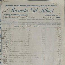 Facturas antiguas: FACTURA. RICARDO GIL ALBERT. ALMACÉN AL POR MAYOR FERRETERÍA. VALENCIA. ESPAÑA 1917. Lote 262328095