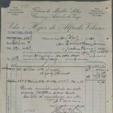 Facturas antiguas: FACTURA. VDA. É HIJOS DE ALFREDO VELASCO. FÁBRICA DE MUEBLES. MEDINA DEL CAMPO. ESPAÑA 1920. Lote 262328530