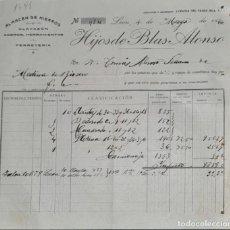 Facturas antiguas: FACTURA. HIJOS DE BLAS ALONSO. ALMACÉN DE HIERROS. LEÓN. ESPAÑA 1920. Lote 262328570
