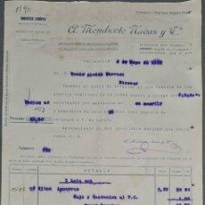 Facturas antiguas: FACTURA. A. MENDICOTE NAVAS Y CÍA. DROGUERÍA EUROPEA. VALLADOLID. ESPAÑA 1920. Lote 262328610