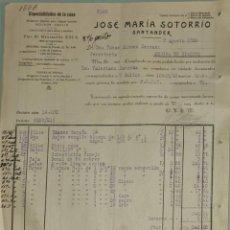 Faturas antigas: FACTURA. JOSÉ MARÍA SOTORRIO. LIMPIADORES Y CERAS. SANTANDER. ESPAÑA 1920. Lote 262370105