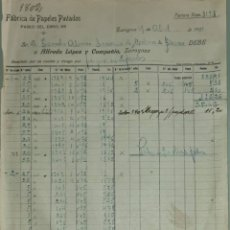 Facturas antiguas: FACTURA. ALFREDO LÓPEZ Y COMPAÑÍA. FÁBRICA PAPELES PINTADOS. ZARAGOZA. ESPAÑA 1921. Lote 262385170