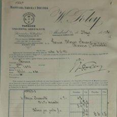 Facturas antiguas: FACTURA. W. FOLEY. MAQUINARIA AGRÍCOLA É INDUSTRIAL. MADRID. ESPAÑA 1921. Lote 262386280