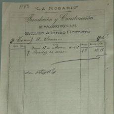 Facturas antiguas: FACTURA. EMILIO ALONSO ROMERO. FUNDICIÓN Y CONSTRUCCIÓN MÁQUINAS AGRÍCOLAS LA ROSARIO. RIOSECO 1921. Lote 262387255