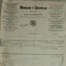 Facturas antiguas: FACTURA. MONGUIÓ Y SCHARLAU. BARNICES Y ESMALTES. BARCELONA. ESPAÑA 1921. Lote 262387515