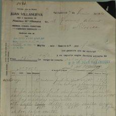 Facturas antiguas: FACTURA. JUAN VILLANUEVA. HIJO Y SUC. FRANCÍSCO M. VILLANUEVA. HIERROSY FERRETERÍA. VALLADOLID 1921. Lote 262387760