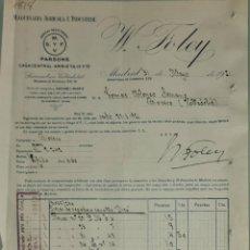 Facturas antiguas: FACTURA. W. FOLEY. MAQUINARIA AGRÍCOLA É INDUSTRIAL. MADRID. ESPAÑA 1921. Lote 262388015