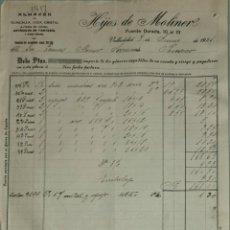 Facturas antiguas: FACTURA. HIJOS DE MOLINER. ALMACÉN QUINCALLA, LOZA Y CRISTAL. VALLADOLID. ESPAÑA 1921. Lote 262388335