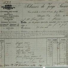 Facturas antiguas: FACTURA. SOBRINOS DE JORGE SÁENZ Y Cº. ALMACÉN AL POR MAYOR QUINCALLA Y FERRETERÍA. VALLADOLID 1921. Lote 262389690