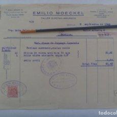 Facturas antiguas: FACTURA DE EMILIO MOECKEL , TALLER ELECTRO-MECANICO : REVISAR ASCENSOR, ETC . SEVILLA, 1942. VIÑETA. Lote 263617275
