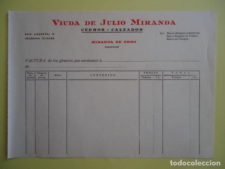 FACTURA DE VIUDA DE JULIO MIRANDA. CUEROS Y CALZADOS. MIRANDA DE EBRO (Coleccionismo - Documentos - Facturas Antiguas)
