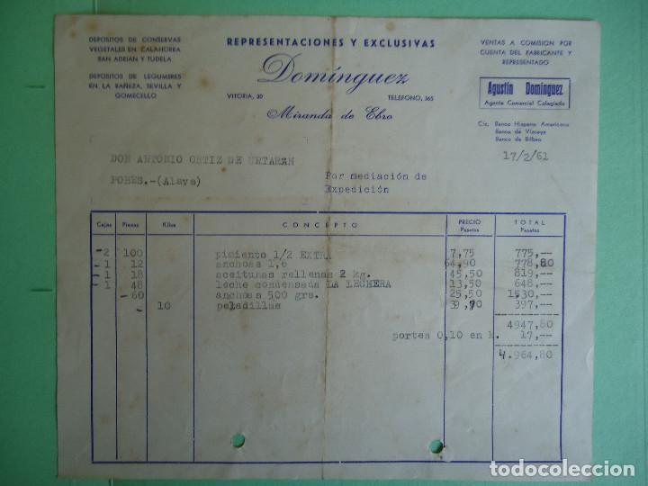 FACTURA DE REPRESENTACIONES Y EXCLUSIVAS DOMINGUEZ DE MIRANDA DE EBRO. AÑO 1961 (Coleccionismo - Documentos - Facturas Antiguas)