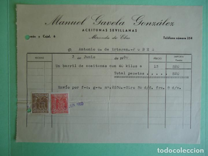 FACTURA DE MANUEL GAVELA GONZALEZ , ACEITUNAS SEVILLANAS, DE MIRANDA DE EBRO. AÑO 1960 (Coleccionismo - Documentos - Facturas Antiguas)
