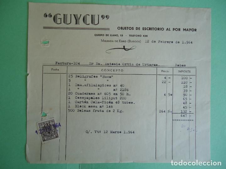FACTURA DE OBJETOS DE ESCRITORIO AL POR MAYOR GUYCU, DE MIRANDA DE EBRO. AÑO 1964 (Coleccionismo - Documentos - Facturas Antiguas)