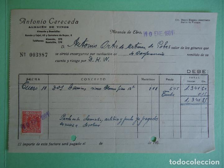 FACTURA DE ANTONIO CERECEDA ALMACEN DE VINOS DE MIRANDA DE EBRO. AÑO 1961 (Coleccionismo - Documentos - Facturas Antiguas)