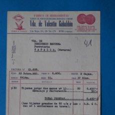 Fatture antiche: ANTIGUA FACTURA:FABRICA DE HERRAMIENTAS. VDA DE VALENTIN GABALDON. UTIEL ( VALENCIA). AÑO 1960. Lote 264171764