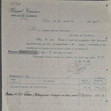 Faturas antigas: FACTURA. MIGUEL CANSECO. MINAS DE CARBÓN. LEÓN. ESPAÑA 1917. Lote 264172580