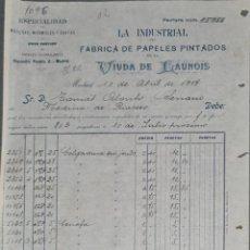 Faturas antigas: FACTURA. VIUDA DE LAUNOIS. LA INDUSTRIAL. FÁBRICA PAPELES PINTADOS. MADRID. ESPAÑA 1917. Lote 264174116
