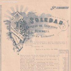Factures anciennes: LA SOLEDAD EMPRESA DE SERVICIOS FÚNEBRES. NUEDA HERMANOS. MADRID. FIRMA PROPIETARIO.. Lote 264179316