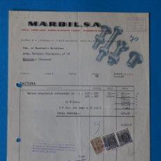 Fatture antiche: ANTIGUA FACTURA:MARBIL. TORNILLERIA. EIBAR ( GUIPUZCOA). AÑO 1960. Lote 264182056