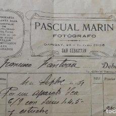 Facturas antiguas: ANTIGUA FACTURA AÑOS 20 - FOTÓGRAFO PASCUAL MARÍN - SAN SEBASTIÁN. Lote 265665744