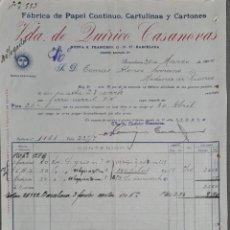 Fatture antiche: VDA. DE LUIRICO CASANOVAS. FÁBRICA DE PAPEL CONTINUO, CARTULINAS Y CARTONES. BARCELONA. ESPAÑA 1914. Lote 265777154