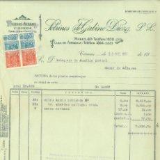 Facturas antiguas: FACTURA DE SOBRINOS GABINO DÍEZ DE CÁCERES A DELEGADO DE AUXILIO SOCIAL DE CASAR DE CÁCERES. Lote 266763748