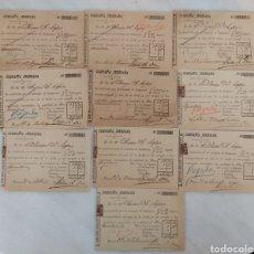Facturas antiguas: LOTE 10 FACTURAS COMPAÑÍA JEREZANA DE ELECTRICIDAD AÑO 1901. Lote 266887039