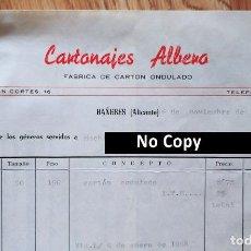Facturas antiguas: FACTURA CON 2 DOCUMENTOS. CARTONAJES ALBERO. FÁBRICA DE CARTÓN ONDULADO. BAÑERES. ALICANTE, 1967. Lote 267135849