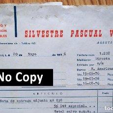 Facturas antiguas: FACTURA CON 3 DOCUMENTOS. AGENTE COMERCIAL. REPRESENTANTE MUEBLES. JACARILLA. ALICANTE, 1976. Lote 267136264