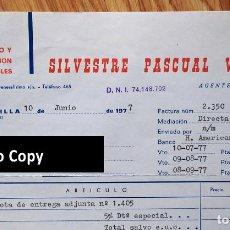 Facturas antiguas: FACTURA CON 7 DOCUMENTOS. AGENTE COMERCIAL. REPRESENTANTE MUEBLES. JACARILLA. ALICANTE, 1977. Lote 267136319