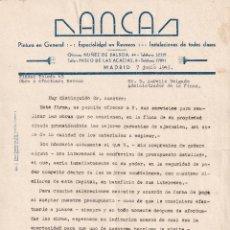 Facturas antiguas: FACTURA AÑOS 40. ANCA PINTURA, MADRID, ANTIGUO LOGOTIPO.. Lote 267170689