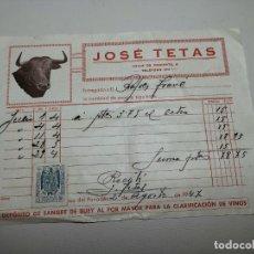Facturas antiguas: FACTURA JOSE TETAS -VENTA DE SANGRE PARA CLARIFICACION VINO 1949 VITICULTURA-VILAFRANCA PENEDES. Lote 267738724