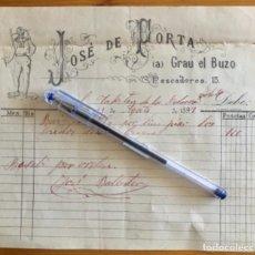 Fatture antiche: BARCELONETA- BARCELONA- FACTURA JOSE DE PORTA- NAVEGACION- GRAU EL BUZO- 1897. Lote 268026149