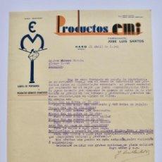 Factures anciennes: PRODUCTOS EMI. FÁBRICA DE PERFUMERÍA Y PRODUCTOS QUÍMICOS. JOSÉ LUIS SANTOS. HARO (LA RIOJA), 1941. Lote 268614144
