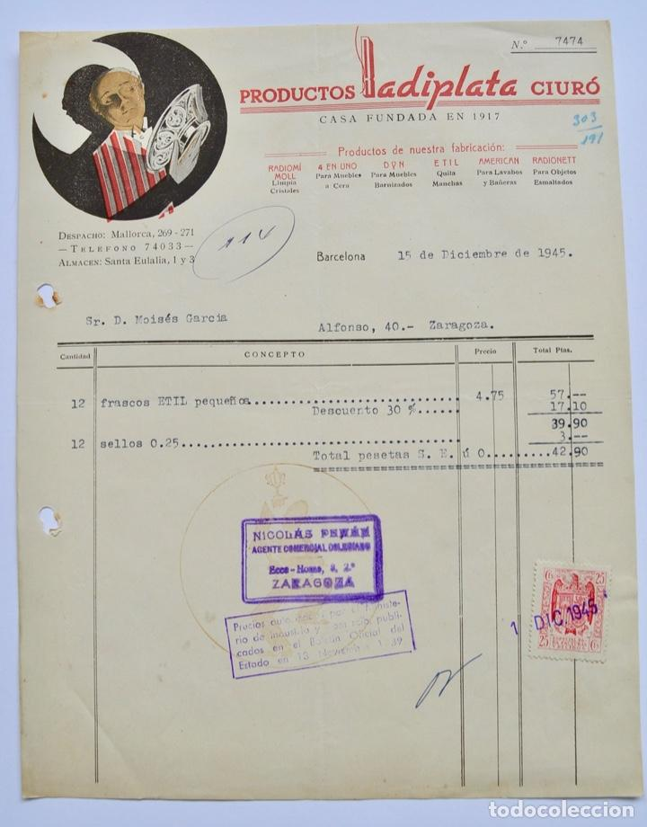 FACTURA COMERCIAL. PRODUCTOS RADIPLATA CIURÓ. CASA FUNDADA EN 1917. BARCELONA, 1945 (Coleccionismo - Documentos - Facturas Antiguas)