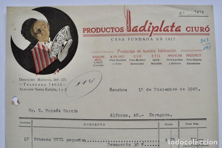 Facturas antiguas: Factura Comercial. Productos Radiplata Ciuró. Casa Fundada en 1917. Barcelona, 1945 - Foto 2 - 268617074