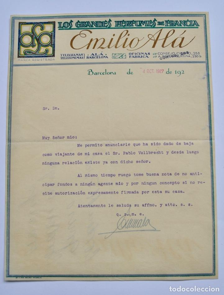 FACTURA COMERCIAL. EMILIO ALÁ. LOS GRANDES PERFUMES DE FRANCIA. BARCELONA, 1927. PERFUMERÍA (Coleccionismo - Documentos - Facturas Antiguas)