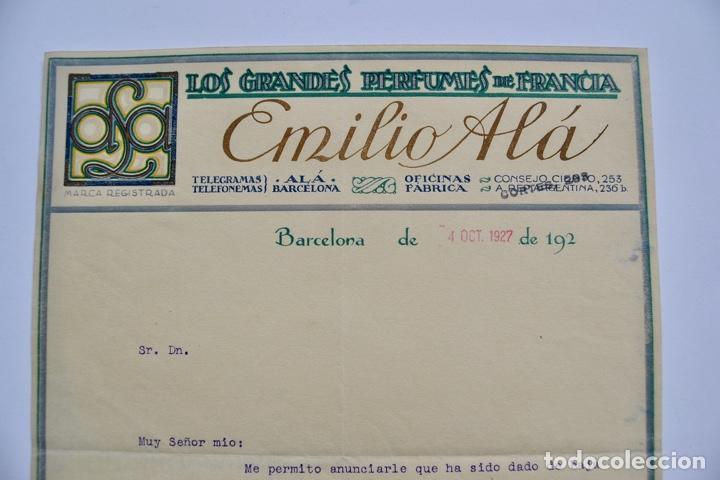 Facturas antiguas: Factura Comercial. Emilio Alá. Los Grandes Perfumes de Francia. Barcelona, 1927. Perfumería - Foto 2 - 268618479