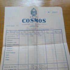 Facturas antiguas: FACTURA HOTEL COSMOS BARCELONA 1960. Lote 268977954