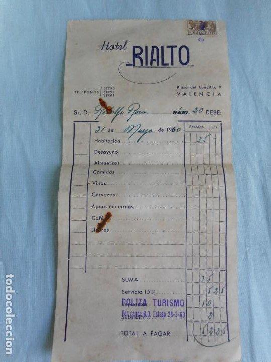 ANTIGUA FACTURA.HOTEL RIALTO.VALENCIA.1960 (Coleccionismo - Documentos - Facturas Antiguas)