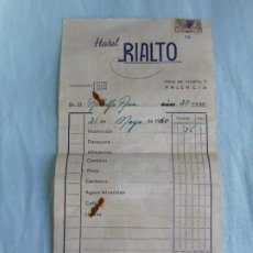 Factures anciennes: ANTIGUA FACTURA.HOTEL RIALTO.VALENCIA.1960. Lote 269045948