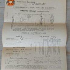 Facturas antiguas: ANTIGUA Y BONITA FACTURA DE FRANCISCO SEMPERE - MURCIA ESPINARDO - AÑO 1906 PIMENTON - CON PEGATINA. Lote 269222493