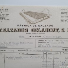Faturas antigas: CALZADOS GELABERT. FABRICA DE CALZADO. INCA. MALLORCA. FACTURA 1961.. Lote 269444948