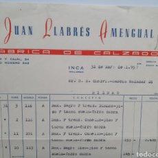 Faturas antigas: JUAN LLABRES AMENGUAL, FABRICA DE CALZADO. INCA. MALLORCA. FACTURA 1957.. Lote 269445423