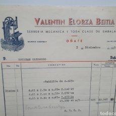 Factures anciennes: VALENTIN ELORZA BEITIA. SERRERIAECANICA. OÑATE. FACTURA 1955.. Lote 269459738