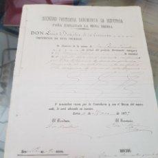 Facturas antiguas: DOCUMENTO DE PAGO MINA IBERIA LORCA Y FACTURA EFECTOS NAVALES VALIENTE CARTAGENA MURCIA S. XIX. Lote 269837643