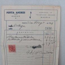 "Facturas antiguas: FACTURA DE ""PEPITA ANDRÉS"". COSTURA, MODISTA. 1958. CALLE NARVÁEZ, MADRID.. Lote 271558738"