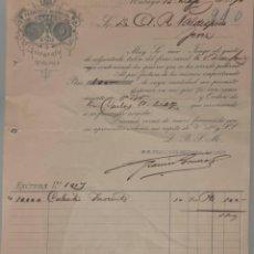 Factures anciennes: FRANCÍSCO BERROCAL. LITÓGRAFO. MÁLAGA. ESPAÑA 1896. Lote 272123238